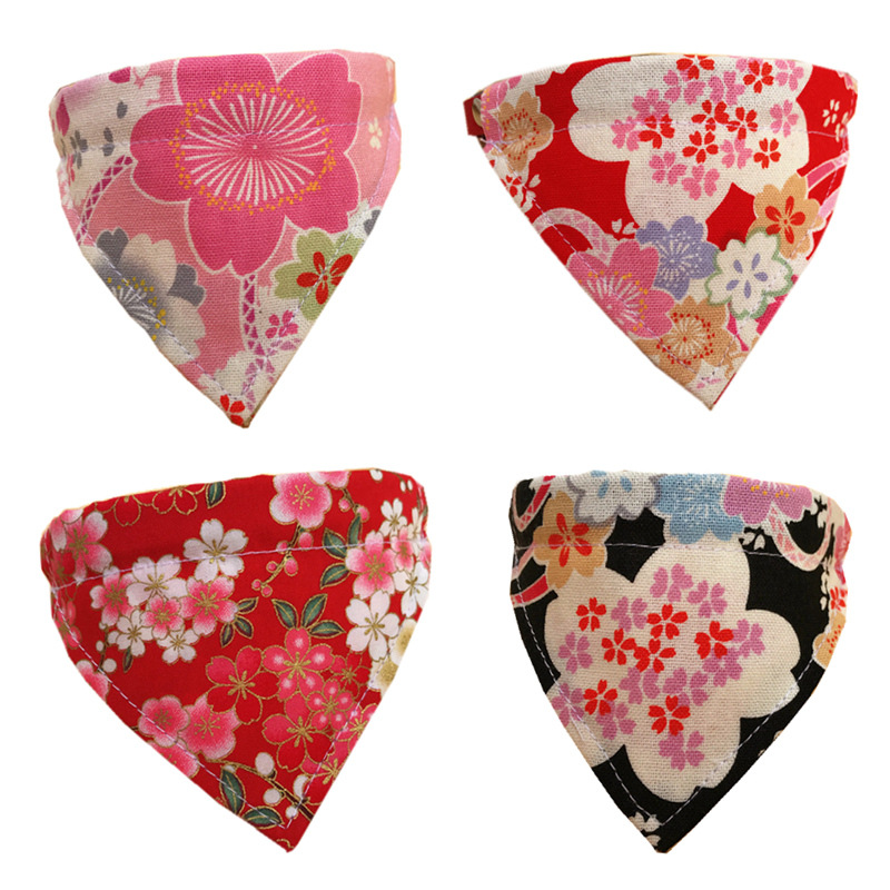 Handmade Pet Triangular Scarf Dog Bibs Cat Japanese Style And Wind Scarf Kerchief Accessories Pet Supplies