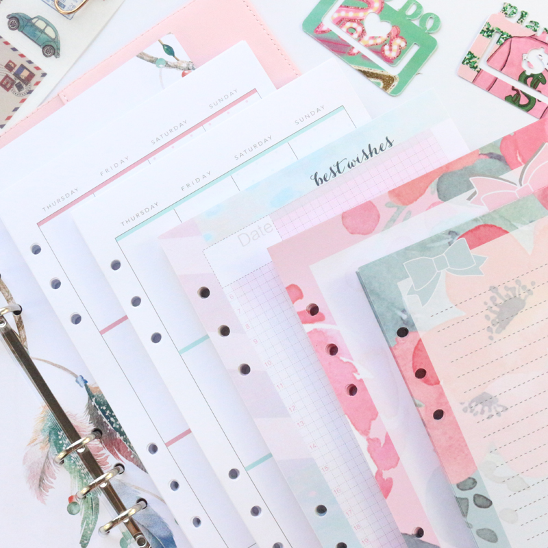 Domikee A5 A6 Cute Colored Refilling Paper Sheets For Binder Spiral Planner Notebooks Stationery:monthly Daily Planner 45sheets