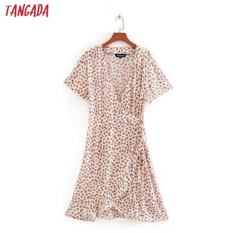 Tangada French Style Women Flowers Print Mini Dress For Summer Short Sleeve Ladies Vintage Short Dress Vestidos CE261