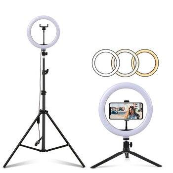Maquillaje de transmisión en vivo Tiktok Youtobe Círculo LED anillo de 10 pulgadas para selfie con soporte de trípode