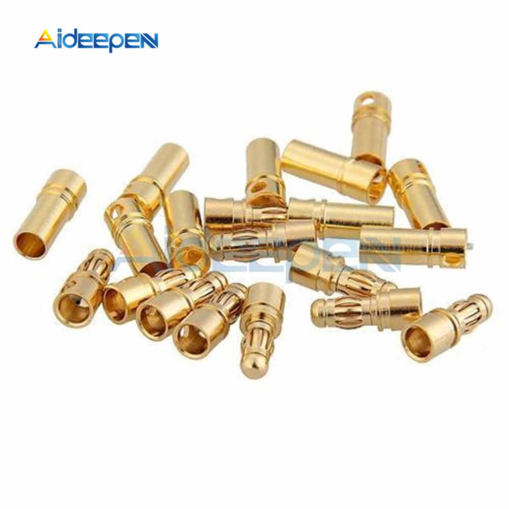 20 個 3.5 ミリメートルゴールドメッキブレットバナナプラグコネクタ男性女性バナナコネクタモデルバッテリープラグ rc バッテリーモーター