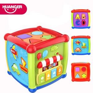 Image 1 - Çok fonksiyonlu müzikli oyuncak yürümeye başlayan bebek kutusu müzik piyano etkinlik küp geometrik blokları sıralama eğitici oyuncaklar 24 ay