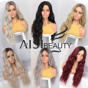 Image 2 - AISI BEAUTY Long Wavy Womens Wig Natural Part Side Hair Ombre Synthetic Wigs Platinum/Blonde/Black Wigs Heat Resistant for Women