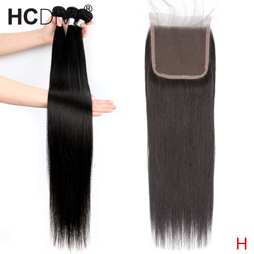 Pre-Colored Peruvian Straight Hair With Closure 34 36 38 40inch Long Remy Human Hair Bundles 3 Bundles With Closure For Women