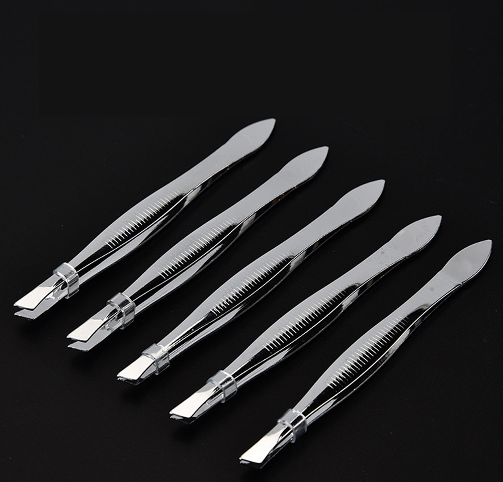 Eyebrow Tweezer Hair Beauty Slanted Puller Plating Stainless Steel Eye Brow Clips Makeup Tool 1PC