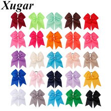 25Pcs/Lot 7 Solid Grosgrain Ribbon Cheer Bows Ponytail Girls Hair Bands Holder Big Cheerleaders Accessories