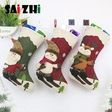 Saizhi, рождественские чулки, висячие, рождественские, для катания на лыжах, Санта-Клауса, украшения, новогодний мешок для конфет, подарочные носки, рождественский подарок