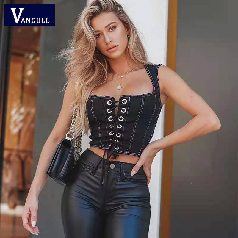 Vangull Sexy Umbilical Strap Hollow Out Washable Denim Soid Sleeveless Hot-Selling 2021 Spring And Summer New Female Vest Tops