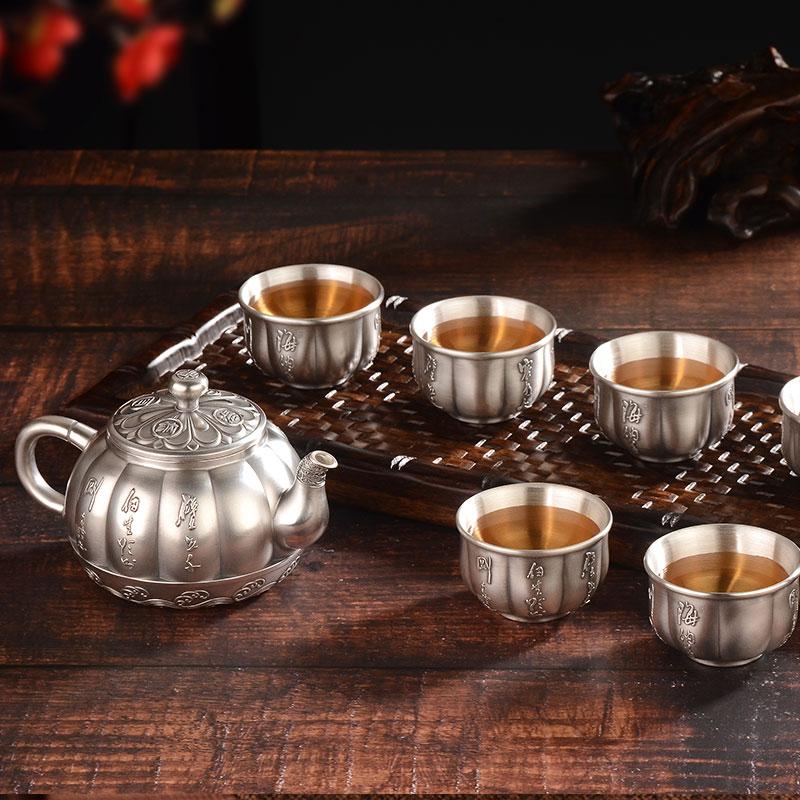 Sterling Silver 999 Teapot Tea Set Set Haina Baichuan Household Silver Pot Burning Water Teapot Kung Fu Teapot Gift
