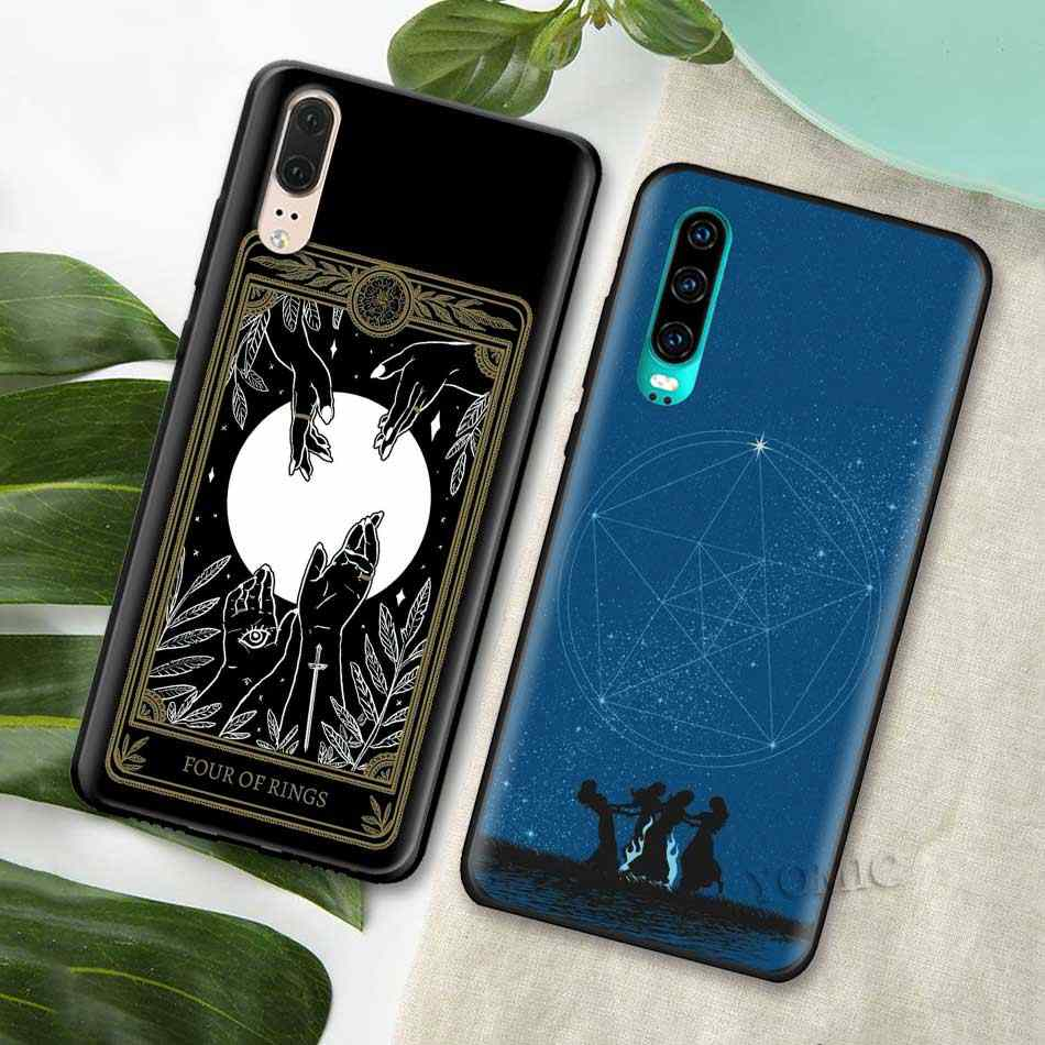 מכשפות ירח טארוט מסתורין טוטם סיליקון מקרה עבור Huawei P30 P20 פרו P10 P9 לייט 2017 Y9s Y5 Y6 Y7 y9 2019 שחור רך טלפון Cov