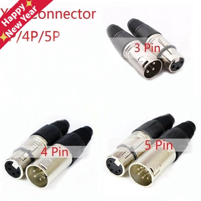 Male & Female 3-Pin 4-Pin 5-Pin XLR Microphone Audio Cable Plug Connectors Cannon Cable Terminals