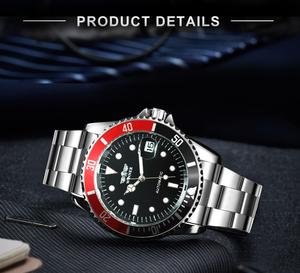 Image 3 - Winnaar Officiële Mode Jurk Horloges Roestvrij Staal Automatische Horloge Mannen Datum Display Klassieke Sport Stijl Mechanische Horloge