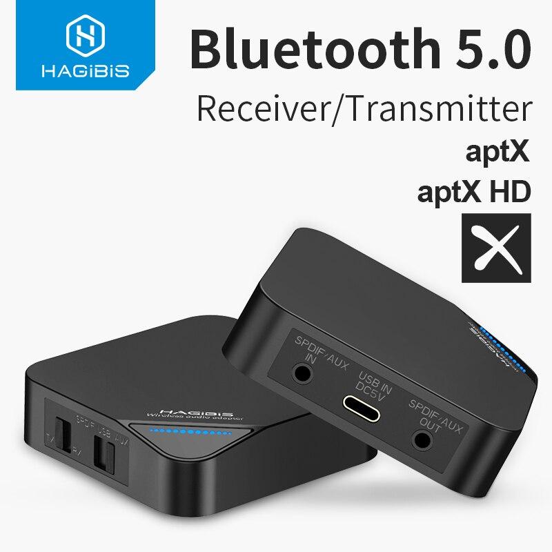 Hagilis bluetooth 5.0 receptor transmissor 2 em 1 sem fio aptx hd áudio 3.5mm aux/spdif/type-c adaptador para tv/fone de ouvido/carro/pc