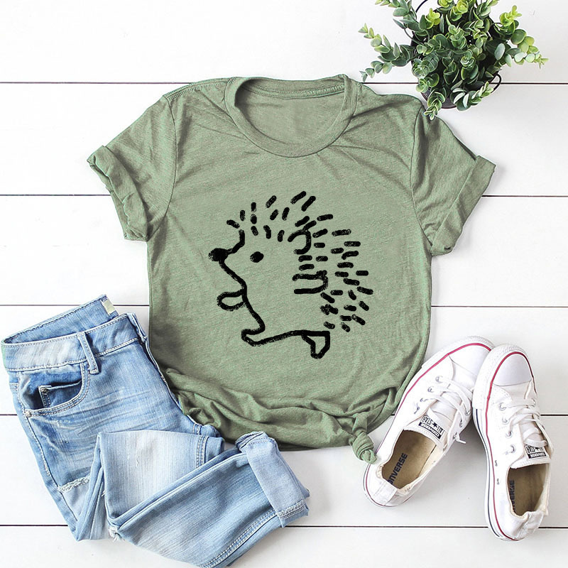 Hfbb343d9d62a4d3ea7edf325e102d8f3u - JFUNCY Summer 100% Cotton Women T-shirt Plus Size S-5XL Graphic Tees Short Sleeve Female Tops Cute Hedgehog Printed T Shirt