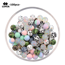 LOFCA 100pcs Tie dye leopard Terrazzo Dalmatian camo Silicone Loose Beads Baby Teether BPA Free DIY Necklace Pacifier Chain Baby