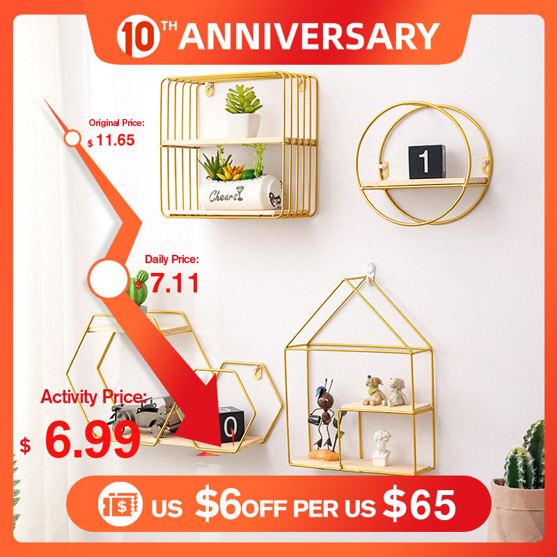 Best Wooden Gold Storage Racks Hanging Decor Storage Box Flower Pot House Storage Rack Wall Book Figurines Display Craft Shelves