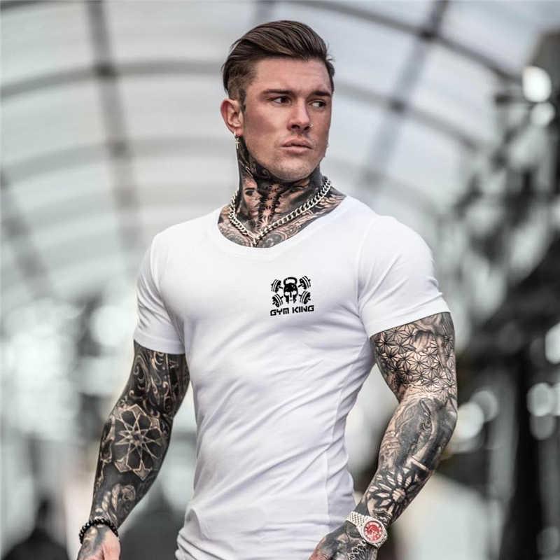 2019 брендовая одежда тренажерные залы Tight футболка мужские фитнес футболка для мужчин Gyms футболка для фитнеса и занятий летний топ