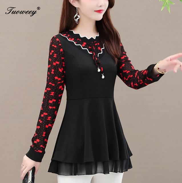 New Arrival Fashion autumn long sleeve patchwork casual Shirt Female Casual o-neck blusas 5XL Plus Size elegant Printed Blouse 1