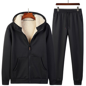 Image 5 - 2019 Winter Thick Faux Shearling Warm Tracksuit Men Hooded Sweatsuit 2 Piece Jacket+Pants Men Set Sportwear Track Suit 4XL 5XL