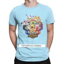 T-shirt à col rond pour homme, vêtement humoristique en coton, avec dessin animé nostalgique Digimon