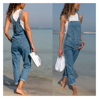 Fashion Women Ladies Baggy Denim Cross Border Special Jeans Bib Full Length Overall Solid Loose Causal Jumpsuit Hot Suspender 1