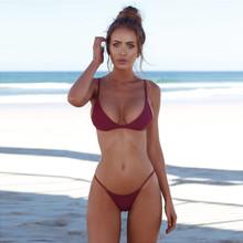 Bikini 2020 jednokolorowy strój kąpielowy kobiety stroje kąpielowe Push Up Bandeau bandaż Bikini Set Biquini letni plażowy strój kąpielowy strój kąpielowy tanie tanio WHooHoo CN (pochodzenie) Stałe Niski stan Drut bezpłatne WOMEN Pasuje prawda na wymiar weź swój normalny rozmiar Poliester