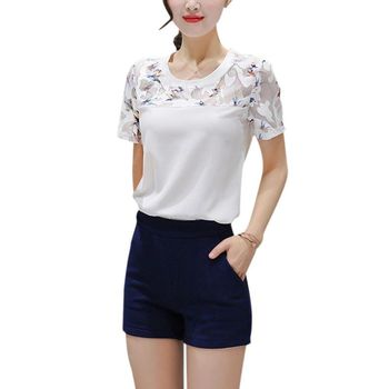 Women Casual Tops White Color Shirts Plus Size 2XL Fashion Tees Summer O-neck Short Sleeve Patchwork Printed T-shirts