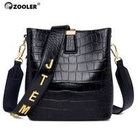 ZOOLER Casual Genuine Leather Shoulder Bags for Female Letter Embossed Bucket Women Tote Bag Roomy Commuting Bags Luxury #LT289