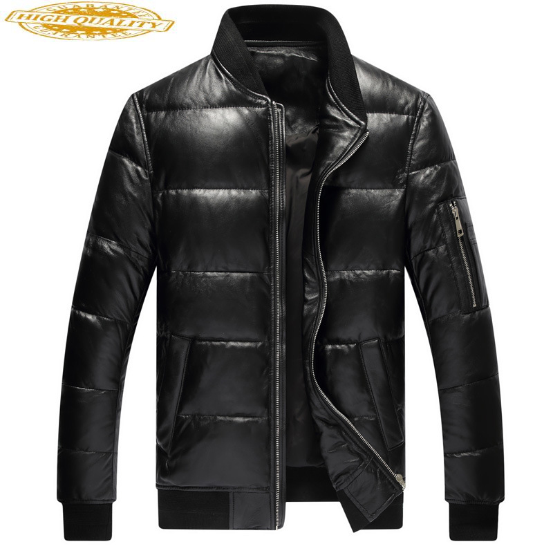 Winter Genuine Leather Down Jacket Men Sheepskin Coat Plus Size Baseball Jacket Real Leather Jackets 2020 1927 KJ3711
