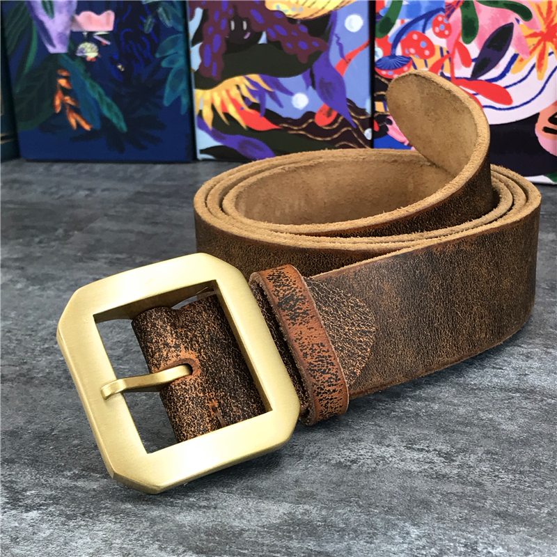 Solid Brass Belt Buckle Super Thick Genuine Leather Belt Male Ceinture Men Leather Belt Waist Belt Man Strap MBT0013