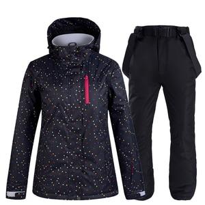 Image 4 - black and white Women Snow Wear snowboarding suit set waterproof windproof breathable Winter outdoor Ski jacket + bibs Snow pant