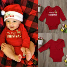 Рождественское боди для маленьких мальчиков и девочек однотонный