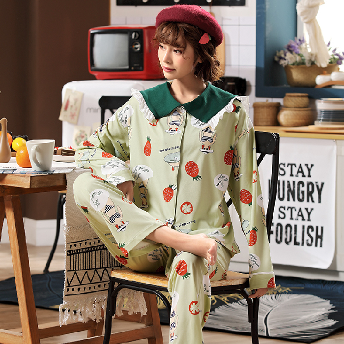 Spring Autumn Women's Pajama Long Sleeve+Long Pants 2 Pcs 100% Cotton Good Quality Pyjama Sets For Girl Casual Comfortable Suits