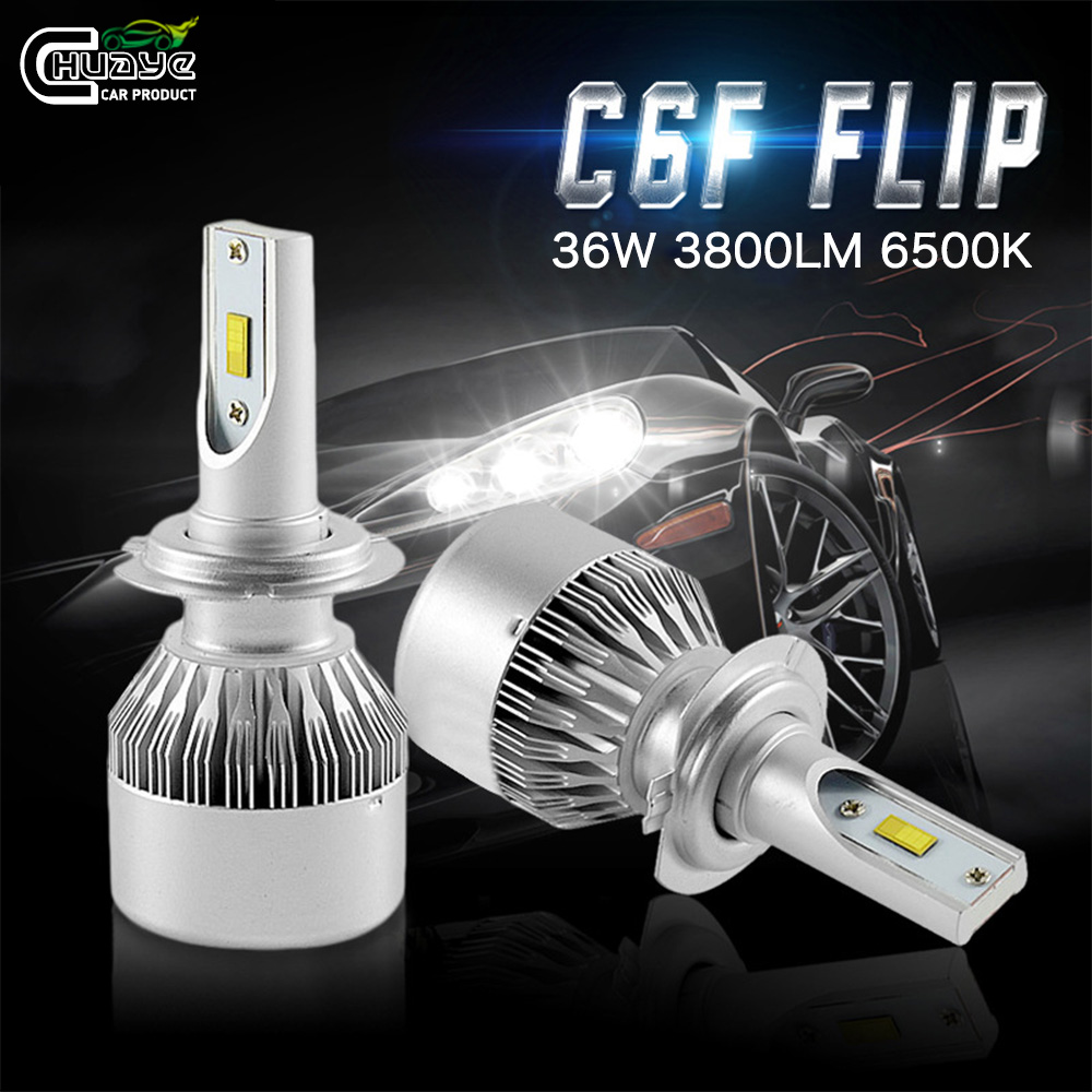 2 Pcs C6 Car LED Headlight Bulbs H1 H3 H4 H7 H8 H11 HB3 880 9005 9006 Auto Truck Universal Super Bright Headlamps 6500K 12V 24V