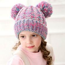 Warm kids winter hat Handmade beanies Knitted for girls beanie Children Thick Soft Cute Casual H198S