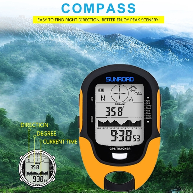 Digital GPS Tracker Altimeter Compass Barometer Air Pressure Altitude Data LCD Outdoor Thermometer Camping Hiking Climbing Tools
