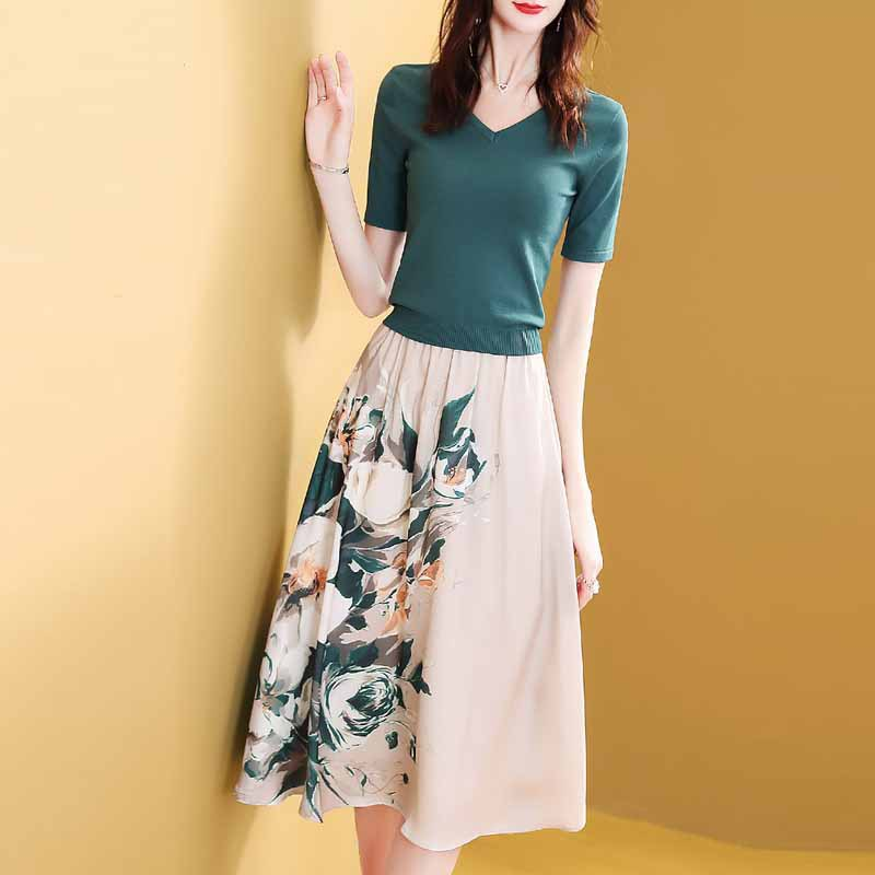 Western Style Royal Sister Women's Dress Outfit 2019 Summer New Style Young-Style Skirt Two-Piece Set Elegant High Cold Ozhouzha
