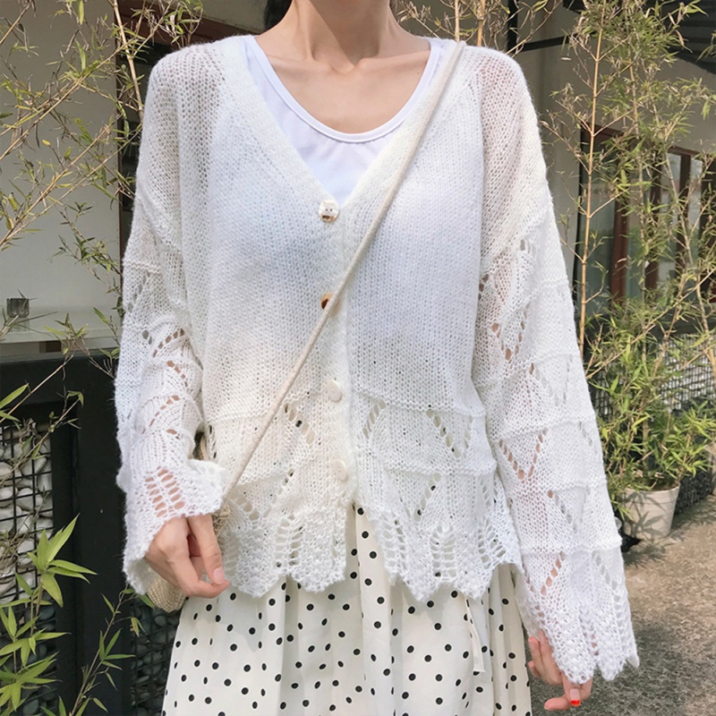 Women Hollow Sweaters Long Sleeve Cardigans Thin Tops V-Neck Ruffles Solid Sweaters Single Breasted Knitted Tops