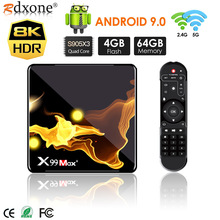 X99 Max + Smart TV BOX Android 9,0 Amlogic S905X3 Quad Core 4GB RAM 32GB 64GB Wifi 1000M BT 8K video Set top box media player