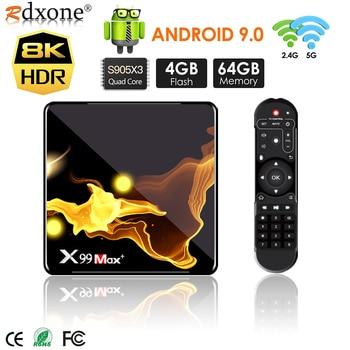 цена на X99 Max+ Smart TV BOX Android 9.0 Amlogic S905X3 Quad Core 4GB RAM 32GB 64GB Wifi 1000M BT 8K video Set top box media player