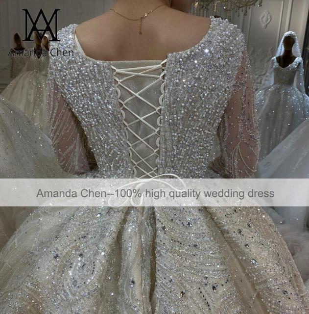 Luxury Lace Rhinestone Crystal Beading Handwork Wedding Dress 2022 4