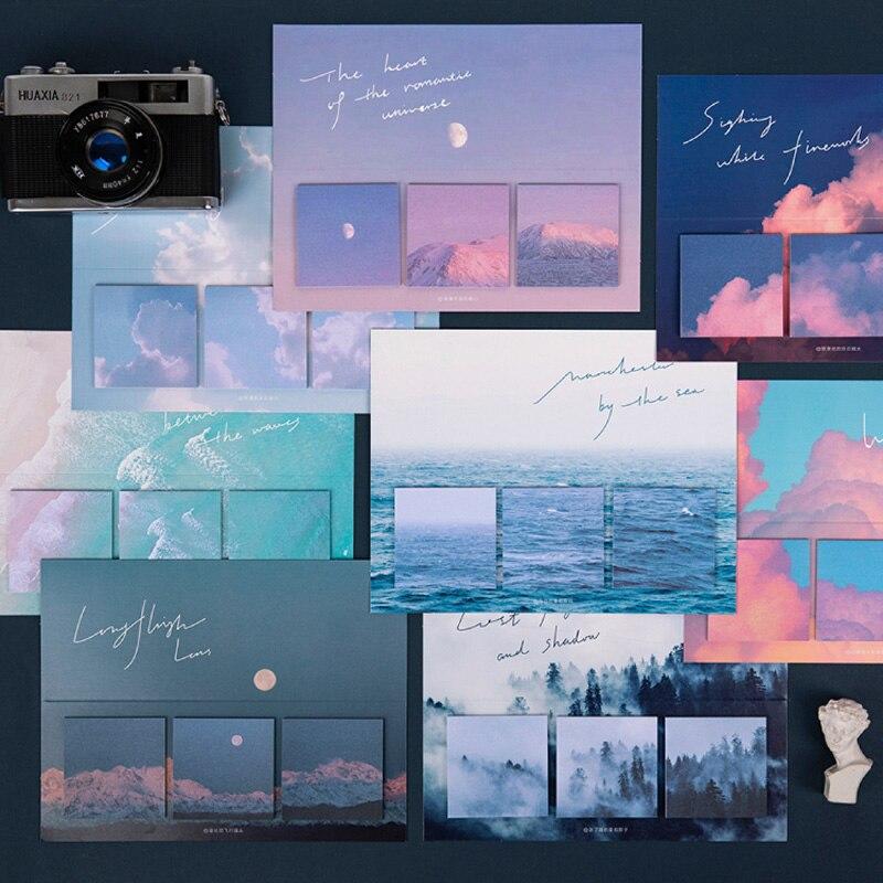 60 листов клейких заметок Yoofun, креативные блокноты для записей с теплым солнцем, серией обещаний, небом, лесом, декоративные блоки для записе...