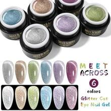 MEET ACROSS Gel Nail Polish Holo Reflective Glitter Cat Magnetic Gel 6ml Auroras Laser Effect Soak Off UV LED Gel All for Nails