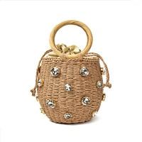 Handmade Rhinestone Crystal Embellished Straw Bag