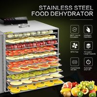 KWASYO 10 Trays Food Dehydrator Fruit Drying Machine Dryer For Vegetables Dried Fruit Meat Drying Machine Stainless Ste Visible