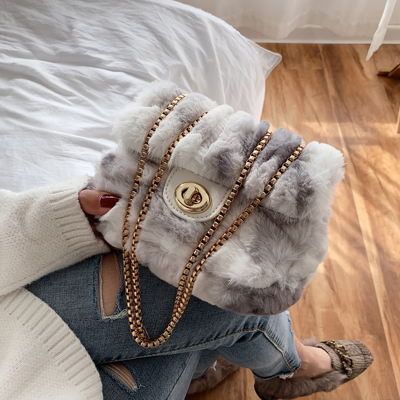 Designer Fur Crossbody Shoulder Bag Luxury Messenger Fashion Bags For Women 2019 Small Square Phone Bag Wild Bolsos Mujer Purse