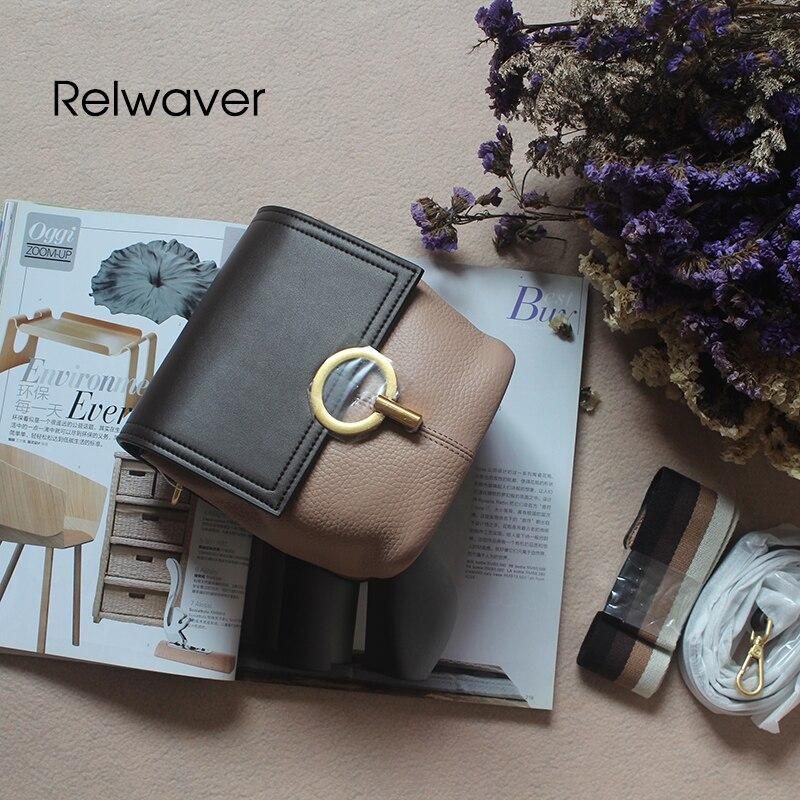 Relwaver crossbody bag genuine leather rotating lock contrast color trend bucket womenn messenger bags small cover shoulder bag