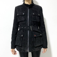 rf1993 Real Sheep Fur Lining Pigskin Leather Jacket Motorcycle Belt Pockets Black Windproof Genuine Leather Suede Coat for Woman