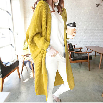 Mid-length all-match cardigan women Korean loose bat sleeve sweater autumn new pocket sweater women's jacket 1