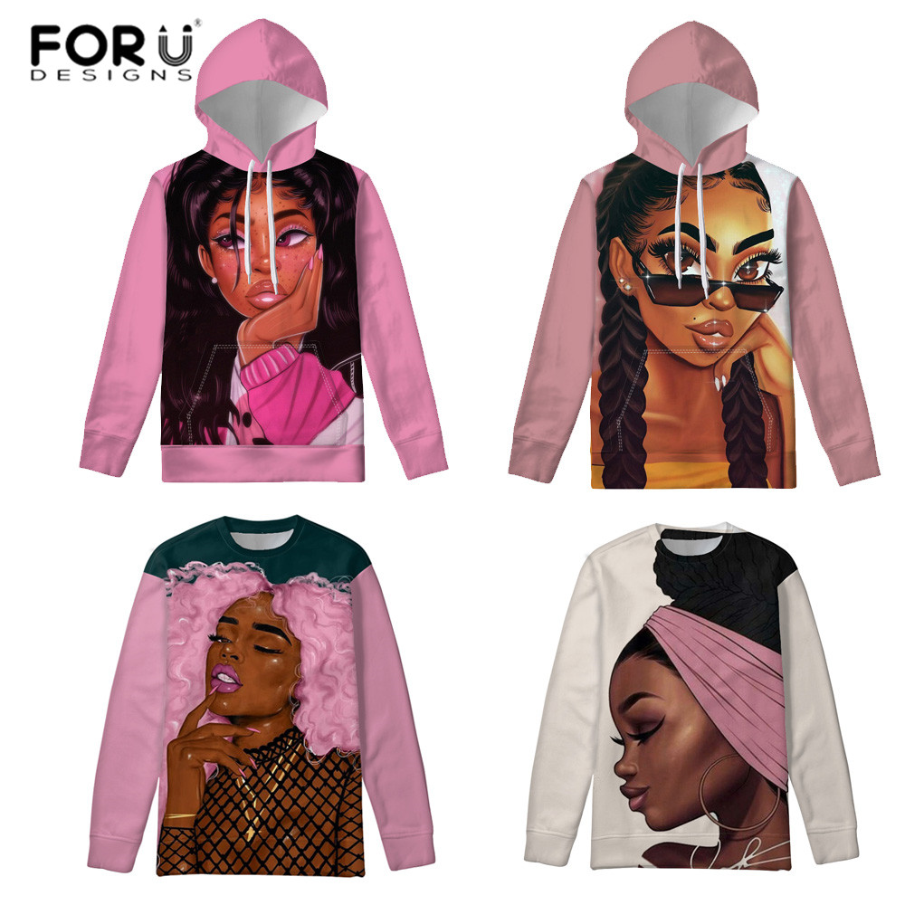 FORUDESIGNS Hoodies Women African Girls Black Art Sweatshirts Ladies Slim Pullovers Hoody For Females Autumn Hoodie Steetwear